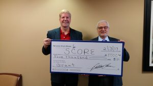 Nevada State Bank presented a check for $5,000 to the Las Vegas office of SCORE, a nationwide nonprofit association dedicated to educating entrepreneurs.