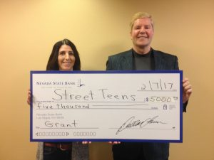 Nevada State Bank presented a check for $5,000 to Street Teens, a non-profit organization dedicated to assisting homeless youth, ages 12-21.