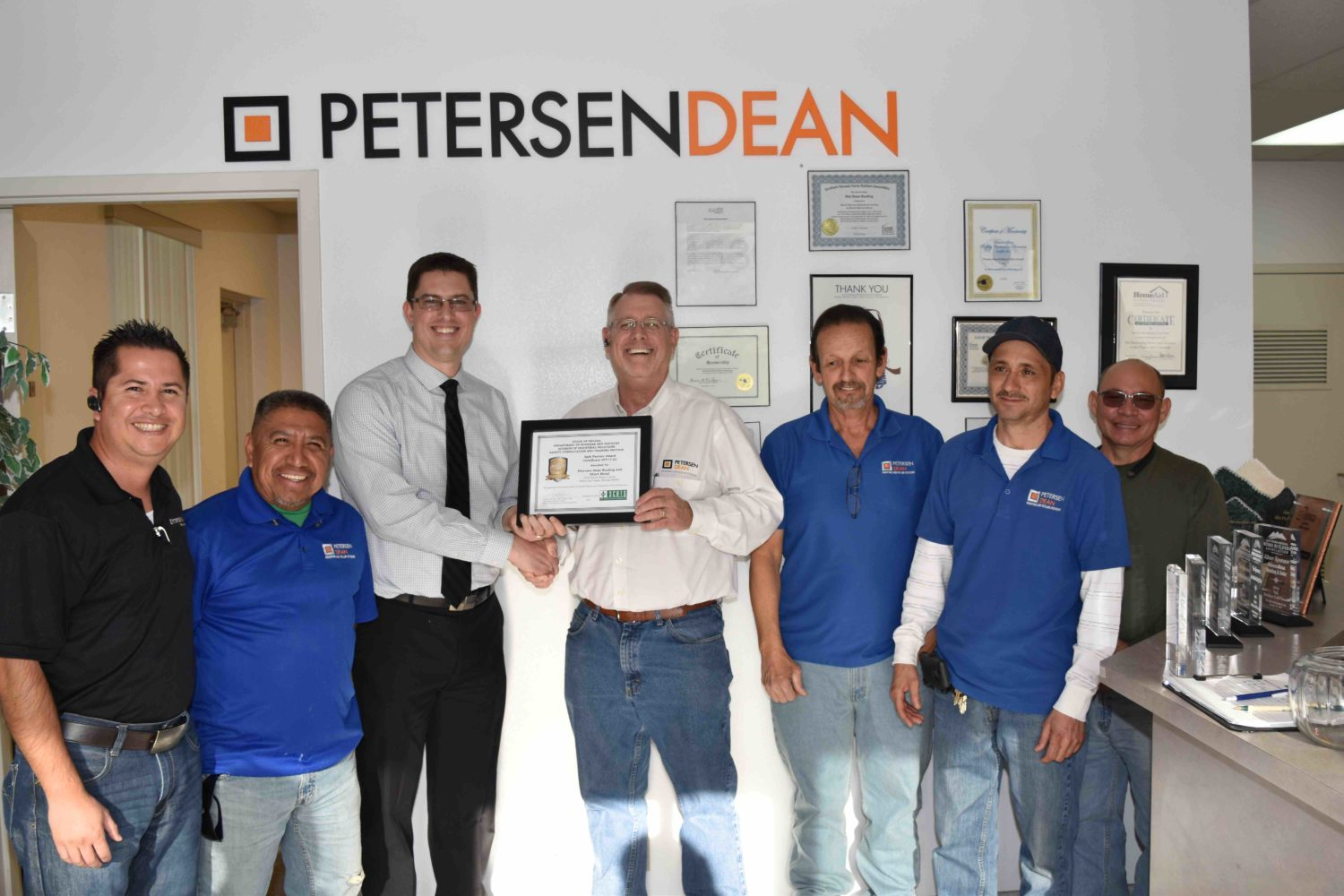 scats awards petersendean roofing and solar safe partner award