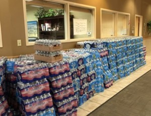 Berkshire Hathaway Home Services Nevada Properties donated 49,000 bottles of water to the Las Vegas Rescue Mission this week.