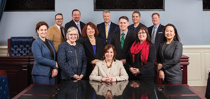 Bar Leaders — Left to Right // Front Row: Brenda Weksler, Mariteresa Rivera-Rogers, Tami D. Cowden, Catherine M. Mazzeo, John P. Aldrich, Jennifer Roberts, Kelly Stout Back Row: Brandon P. Kemble, Jason Stoffel, Paul C. Ray, Damon K. Dias, James E. Harper // Not Pictured: Hon. Nancy Allf, Nedda Ghandi and Macaire Moran