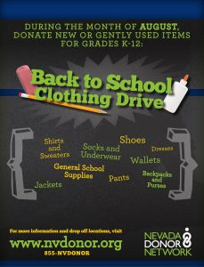Nevada Donor Network (NDN) will kick off National Minority Donor Awareness Week with a clothing drive to benefit our community's underserved students.
