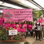 Moana Nursery presented a check for more than $8,000 to the American Cancer Society to help support breast cancer research.