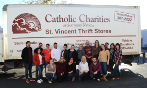 MassMedia Corporate Communications collected 10,000 pounds of food and supplies for Catholic Charities of Southern Nevada.