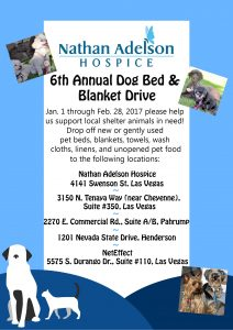 Nathan Adelson Hospice's Pet Therapy Program Holds '6th Annual Dog Bed & Blanket Drive' in Support of Local Animal Shelters During Winter Months