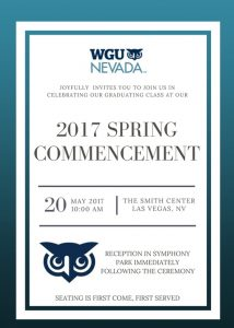 WGU Nevada will celebrate its second commencement by honoring nearly 400 graduates from around the state on Saturday, May 20 at The Smith Center.