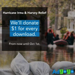 AdYoYo, a Las Vegas company allowing users to easily buy and sell wares with video clips, will send $1 to help victims of hurricanes Irma and Harvey