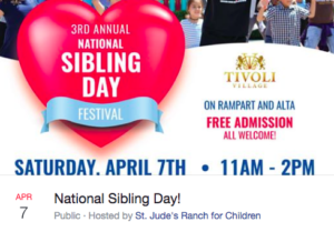 On Saturday, April 7, 2018, in partnership with FOX5's Take 5 To Care, St. Jude's Ranch for Children will hold its third annual National Siblings Day Festival at Tivoli Village on Rampart and Alta to raise awareness of brothers and sisters separated in foster care.