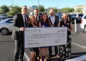 On Thursday, June 15, 2018, Nevada State Bank presented a check for $10,000 to long-time community partner Junior Achievement of Southern Nevada.