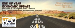 "The Henderson Chamber of Commerce will host its monthly networking breakfast, ""End of Year Economic Update,"" presented by Dr. Stephen Miller."