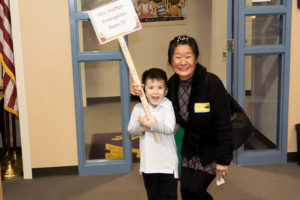 Eun Yoon and son at Steele Elementary School
