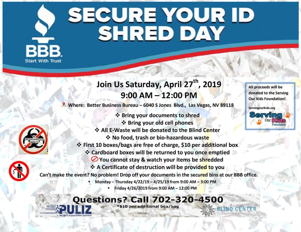 BBB Annual SECURE YOUR ID DAY Shredding Event, April 27 - Providing