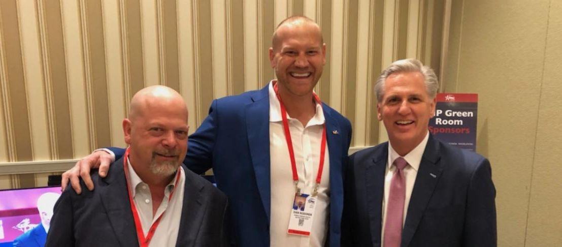 """Big Dan"" Rodimer with Republican House Leader Kevin McCarthy and Pawn Star's star Rick Harrison."